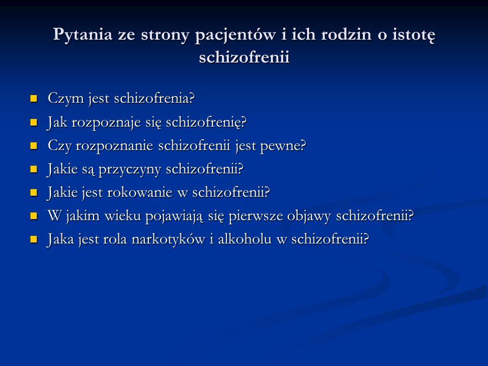 Pytania ze strony pacjentów i ich rodzin o sposoby leczenia schizofrenii Kiedy należy stosować leki przeciwpsychotyczne.