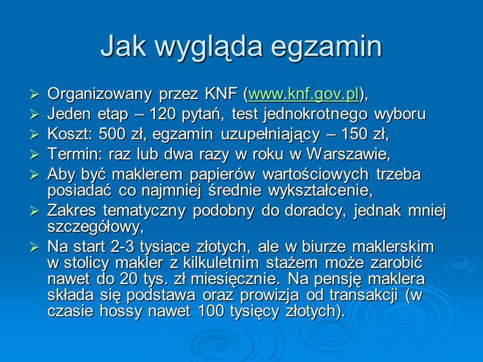 Jak wygląda egzamin Organizowany przez KNF (www.knf.gov.pl), Organizowany przez KNF (www.knf.gov.pl),www.knf.gov.pl Jeden etap – 120 pytań, test jedno