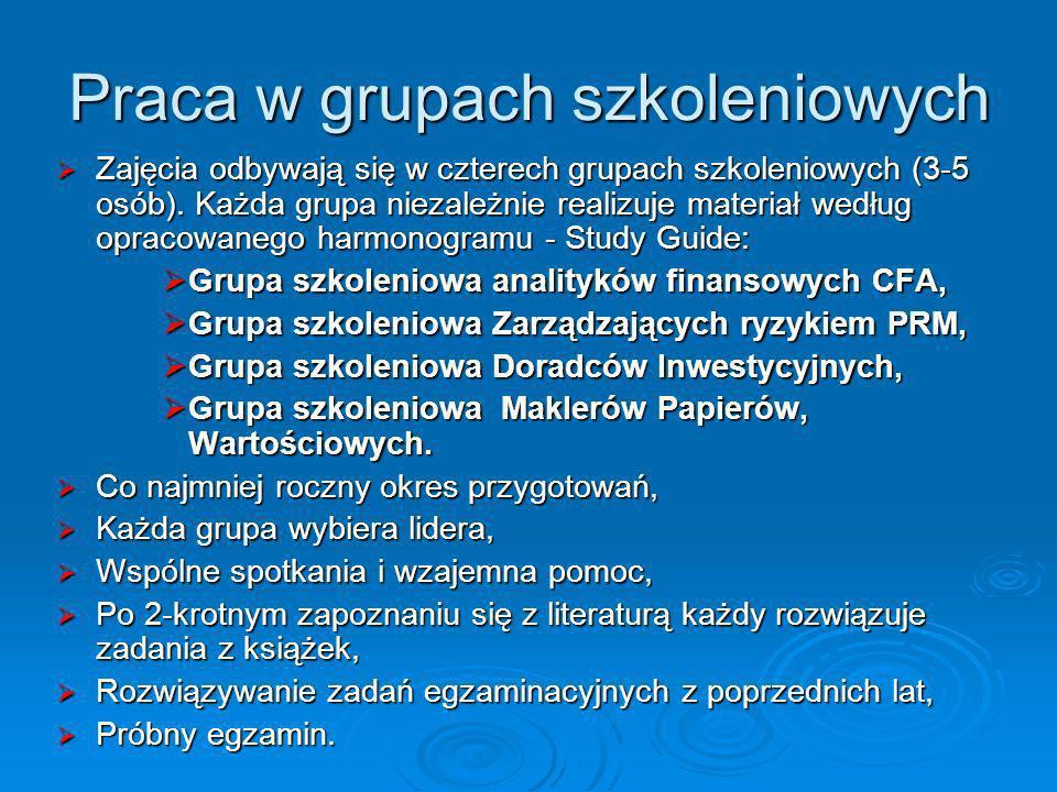Praca w grupach szkoleniowych Zajęcia odbywają się w czterech grupach szkoleniowych (3-5 osób). Każda grupa niezależnie realizuje materiał według opra