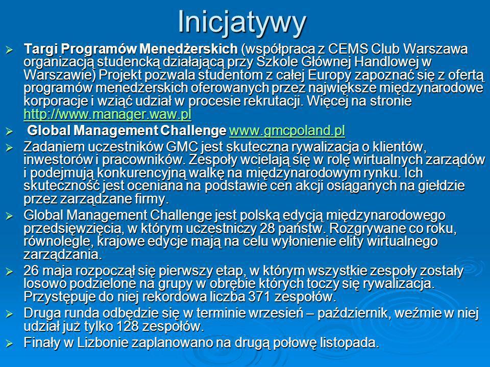 Inicjatywy Targi Programów Menedżerskich (współpraca z CEMS Club Warszawa organizacją studencką działającą przy Szkole Głównej Handlowej w Warszawie)