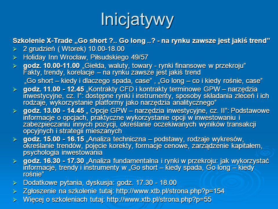 Inicjatywy Szkolenie X-Trade Go short ?.. Go long..? - na rynku zawsze jest jakiś trend 2 grudzień ( Wtorek) 10.00-18.00 2 grudzień ( Wtorek) 10.00-18
