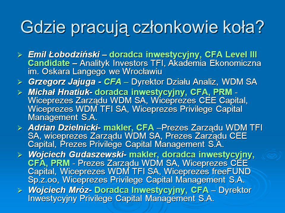 Gdzie pracują członkowie koła? Emil Łobodziński – doradca inwestycyjny, CFA Level III Candidate – Analityk Investors TFI, Akademia Ekonomiczna im. Osk