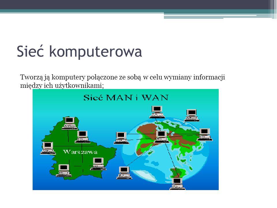 TYPY SIECI Sieć terminalowa posiada jeden bardzo dobry komputer o dużej mocy obliczeniowej i obszernej pamięci masowej (dysk lub dyski twarde), zaś użytkownicy korzystają tylko ze stanowisk składających się z monitora i klawiatury, a wszystkie programy wykonywane są na tym bardzo dobrym komputerze o dużych mocach obliczeniowych.