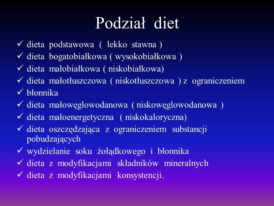 Podział diet dieta podstawowa ( lekko stawna ) dieta bogatobiałkowa ( wysokobiałkowa ) dieta małobiałkowa ( niskobiałkowa) dieta małotłuszczowa ( nisk