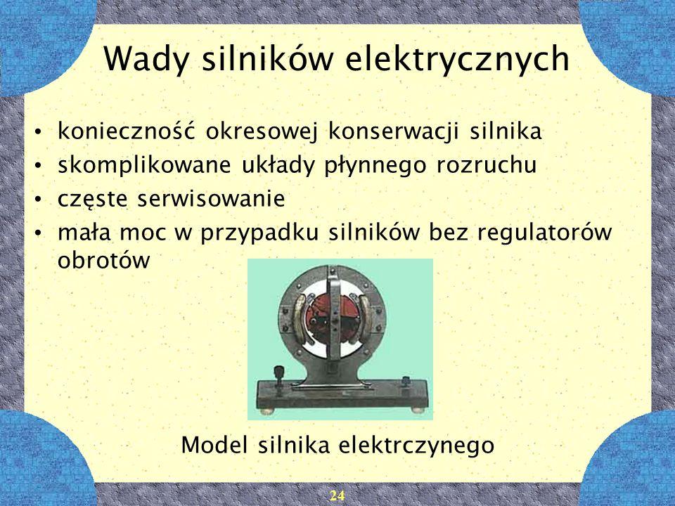 24 Wady silników elektrycznych konieczność okresowej konserwacji silnika skomplikowane układy płynnego rozruchu częste serwisowanie mała moc w przypad