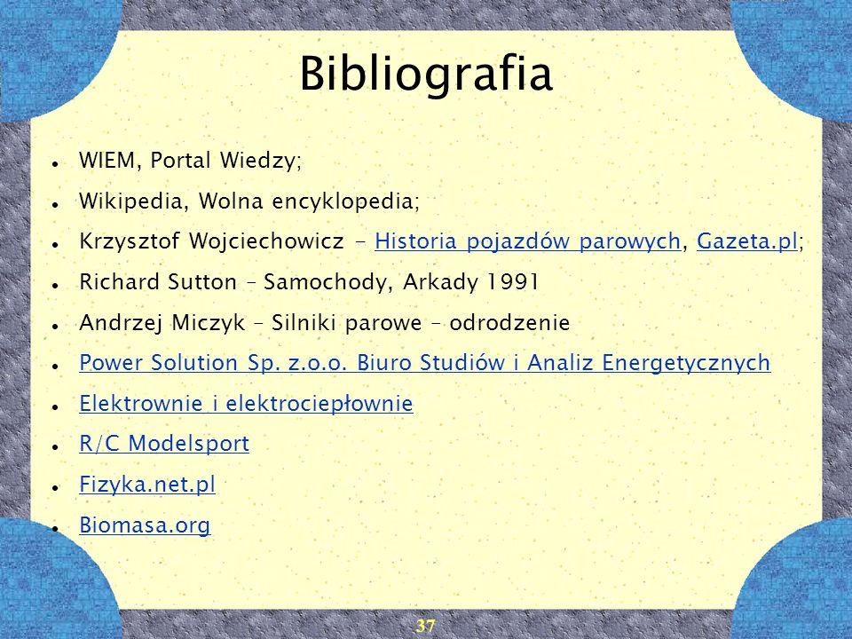 37 Bibliografia WIEM, Portal Wiedzy; Wikipedia, Wolna encyklopedia; Krzysztof Wojciechowicz - Historia pojazdów parowych, Gazeta.pl;Historia pojazdów