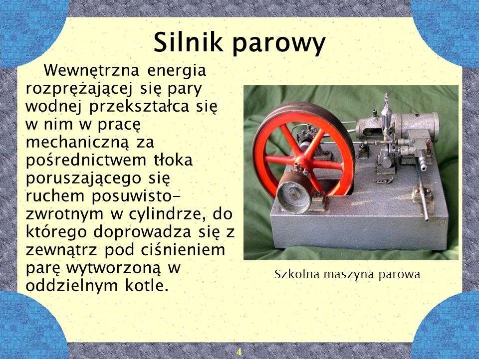 4 Silnik parowy Wewnętrzna energia rozprężającej się pary wodnej przekształca się w nim w pracę mechaniczną za pośrednictwem tłoka poruszającego się r