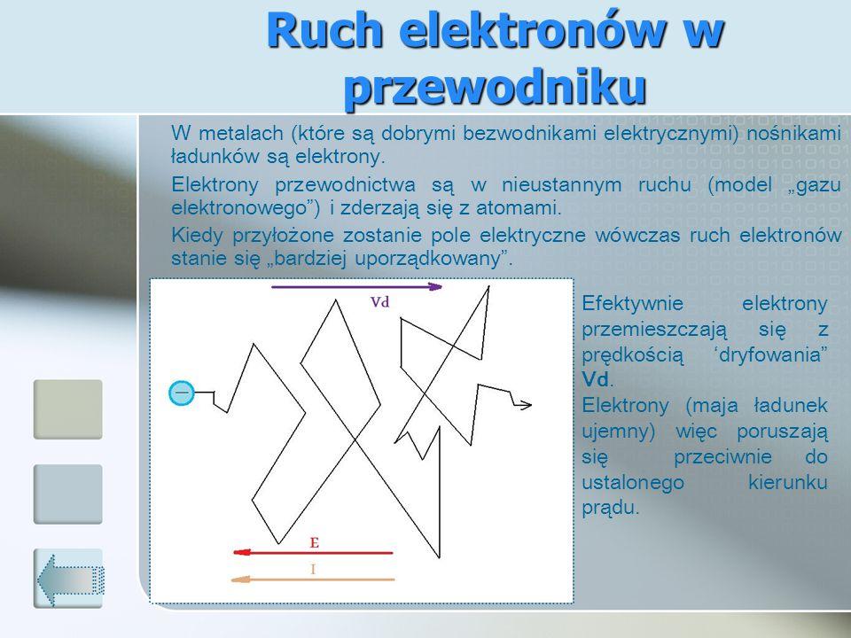 Ruch elektronów w przewodniku W metalach (które są dobrymi bezwodnikami elektrycznymi) nośnikami ładunków są elektrony. Elektrony przewodnictwa są w n