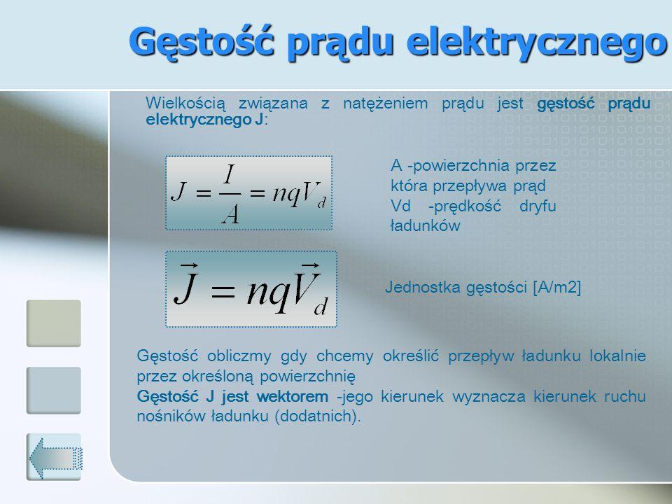 Gęstość prądu elektrycznego Wielkością związana z natężeniem prądu jest gęstość prądu elektrycznego J: A -powierzchnia przez która przepływa prąd Vd -