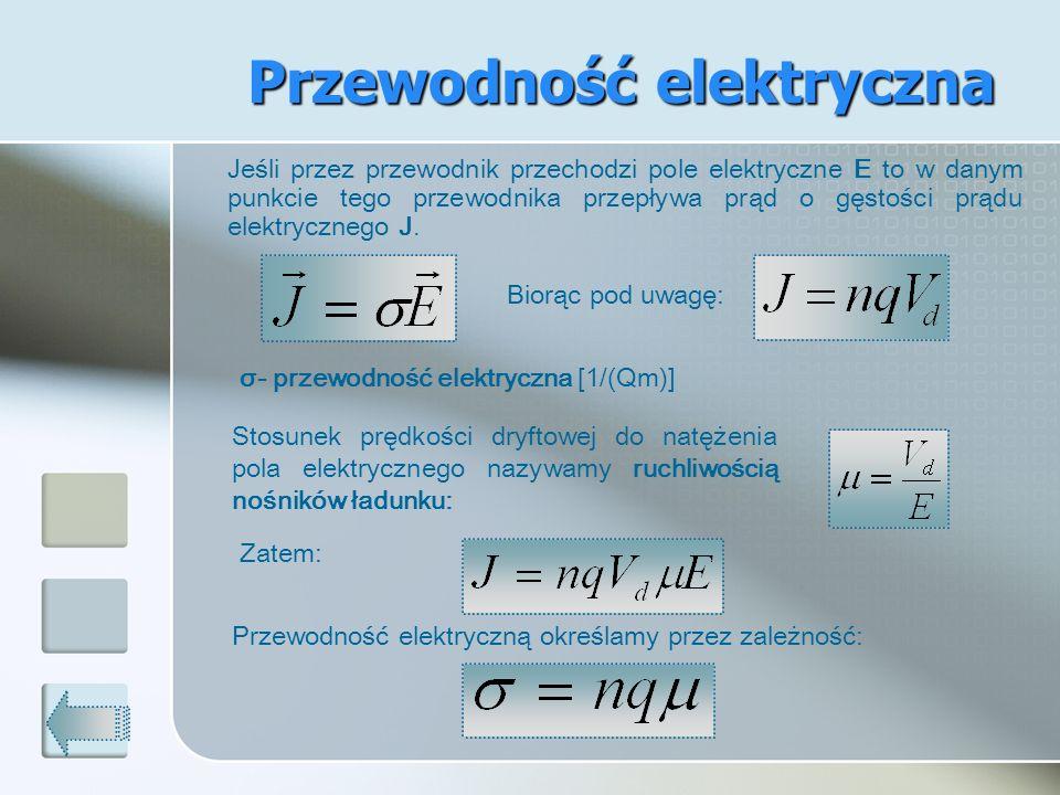 Jeśli przez przewodnik przechodzi pole elektryczne E to w danym punkcie tego przewodnika przepływa prąd o gęstości prądu elektrycznego J. σ- przewodno