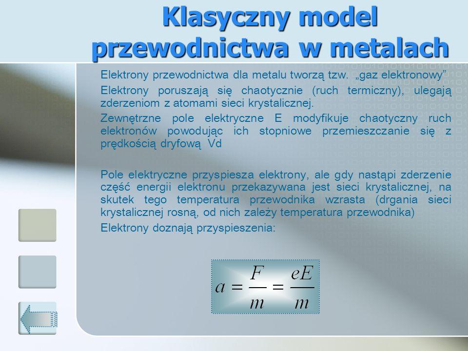 Klasyczny model przewodnictwa w metalach Elektrony przewodnictwa dla metalu tworzą tzw. gaz elektronowy Elektrony poruszają się chaotycznie (ruch term