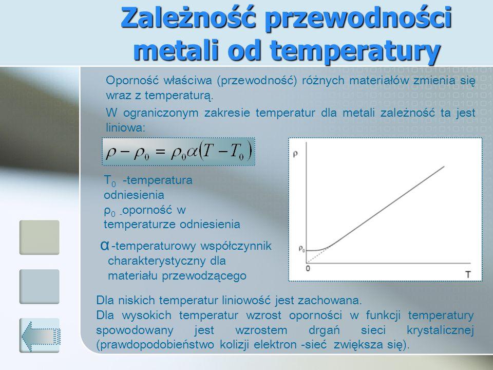 Zależność przewodności metali od temperatury Oporność właściwa (przewodność) różnych materiałów zmienia się wraz z temperaturą. W ograniczonym zakresi