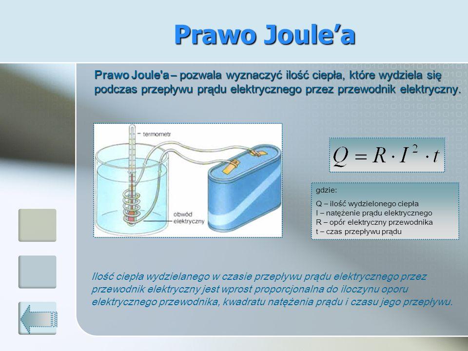 Prawo Joulea Prawo Joule'a – pozwala wyznaczyć ilość ciepła, które wydziela się podczas przepływu prądu elektrycznego przez przewodnik elektryczny. Pr