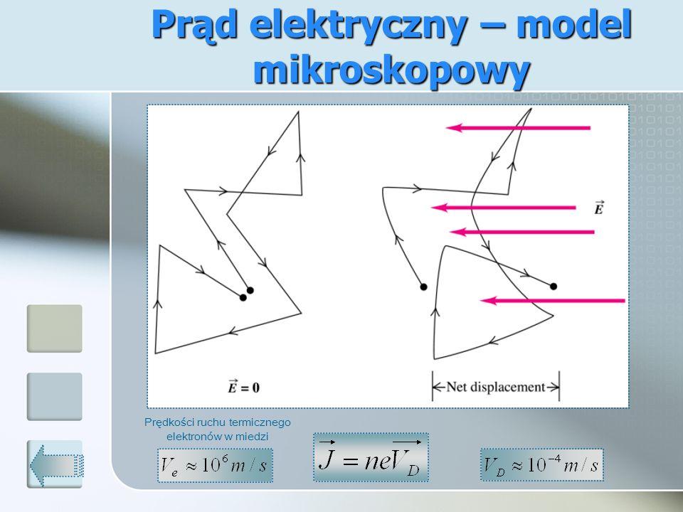 Prąd elektryczny – model mikroskopowy Prędkości ruchu termicznego elektronów w miedzi