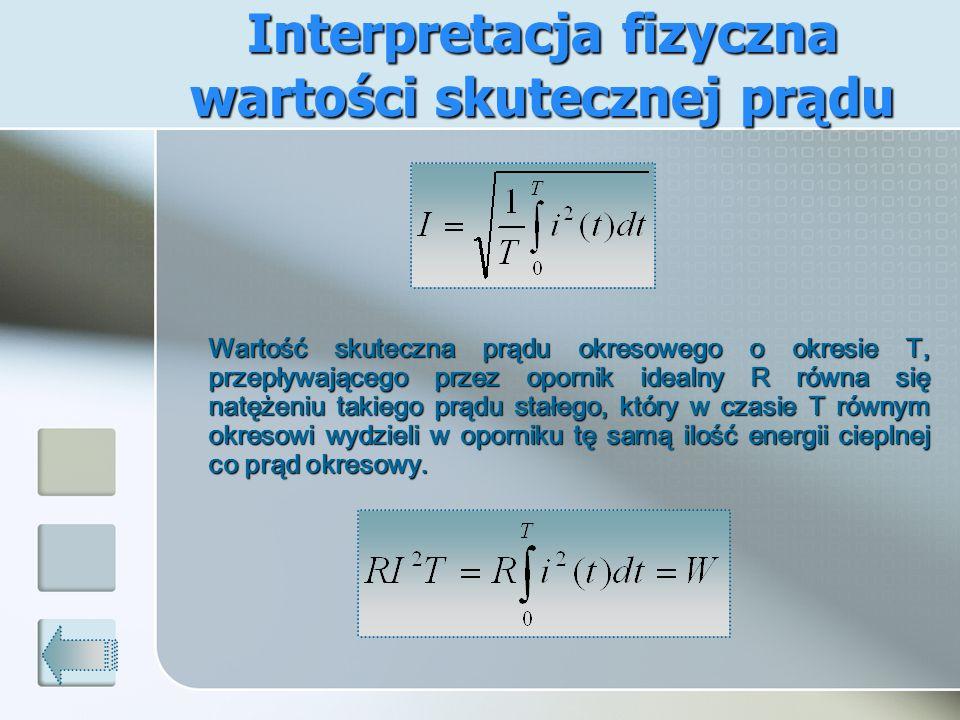 Wartość skuteczna prądu okresowego o okresie T, przepływającego przez opornik idealny R równa się natężeniu takiego prądu stałego, który w czasie T ró