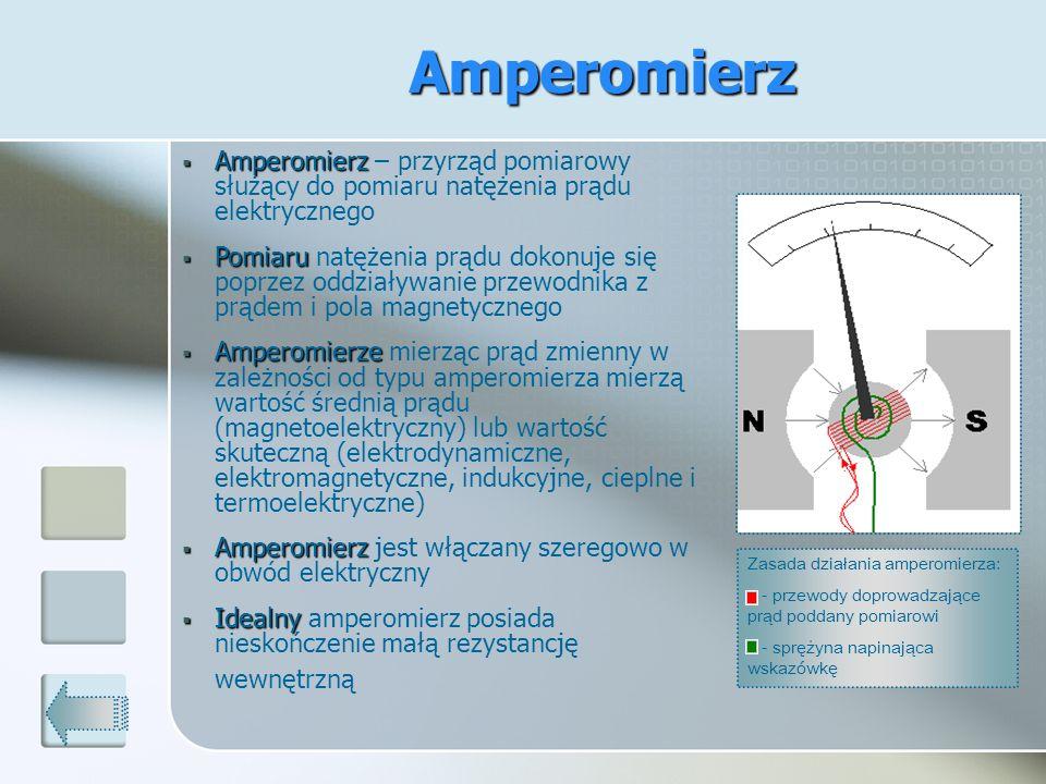 Amperomierz Amperomierz Amperomierz – przyrząd pomiarowy służący do pomiaru natężenia prądu elektrycznego Pomiaru Pomiaru natężenia prądu dokonuje się