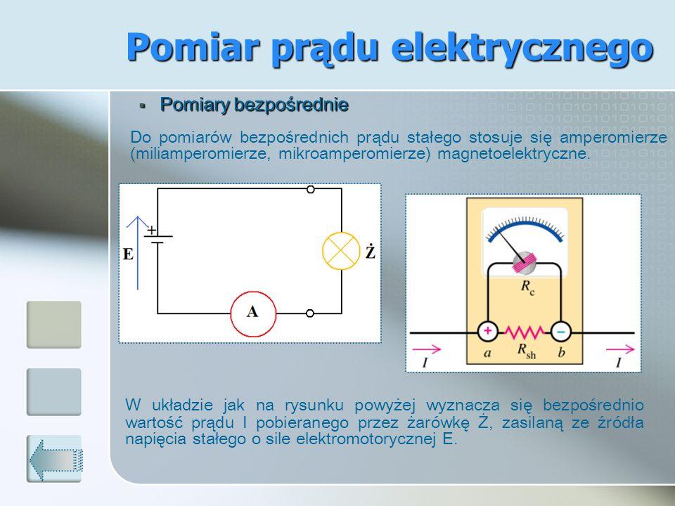 Pomiar prądu elektrycznego Pomiary bezpośrednie Pomiary bezpośrednie Do pomiarów bezpośrednich prądu stałego stosuje się amperomierze (miliamperomierz