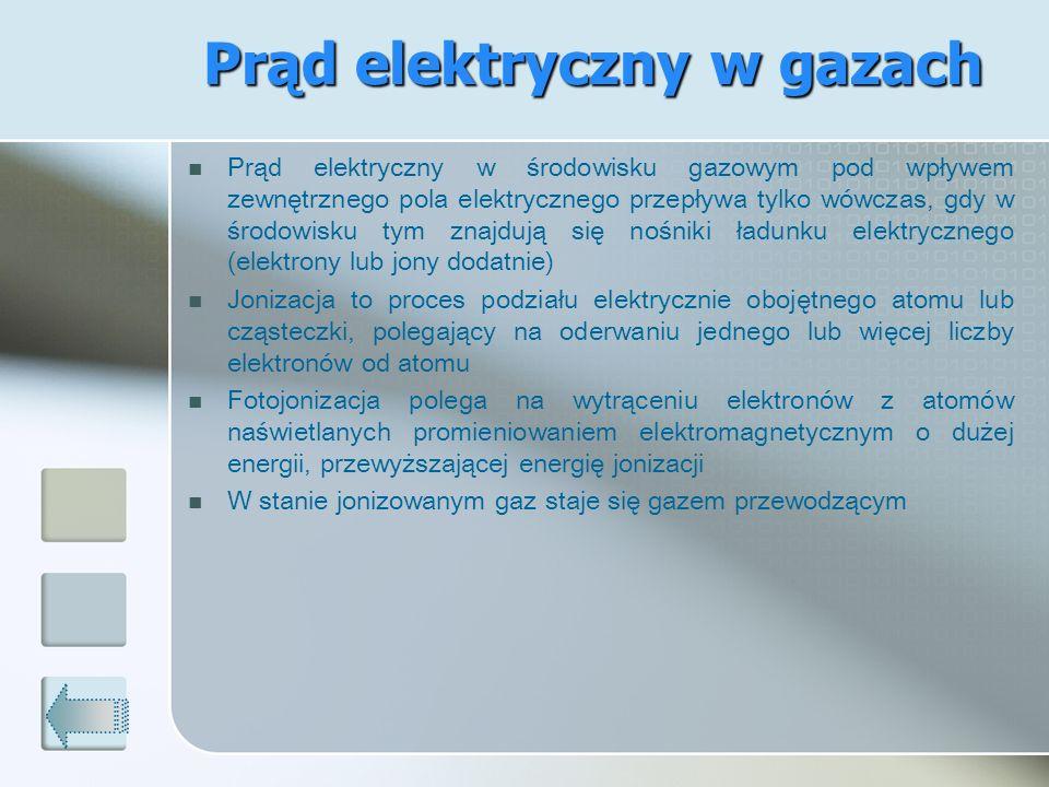 Prąd elektryczny w środowisku gazowym pod wpływem zewnętrznego pola elektrycznego przepływa tylko wówczas, gdy w środowisku tym znajdują się nośniki ł