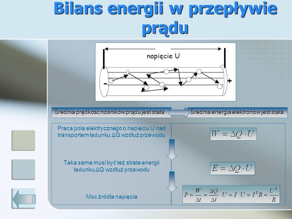 Bilans energii w przepływie prądu Średnia prędkość nośników prądu jest stała Średnia energia elektronów jest stała Praca pola elektrycznego o napięciu