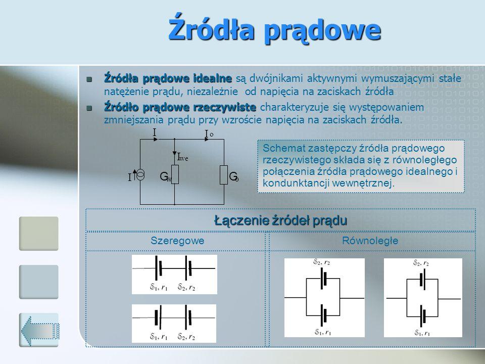 Źródła prądowe idealne Źródła prądowe idealne są dwójnikami aktywnymi wymuszającymi stałe natężenie prądu, niezależnie od napięcia na zaciskach źródła