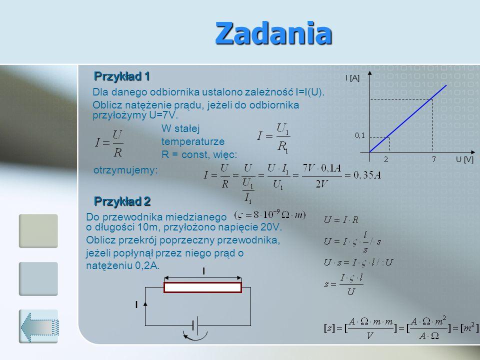 Zadania Dla danego odbiornika ustalono zależność I=I(U). Oblicz natężenie prądu, jeżeli do odbiornika przyłożymy U=7V. I [A] U [V] W stałej temperatur