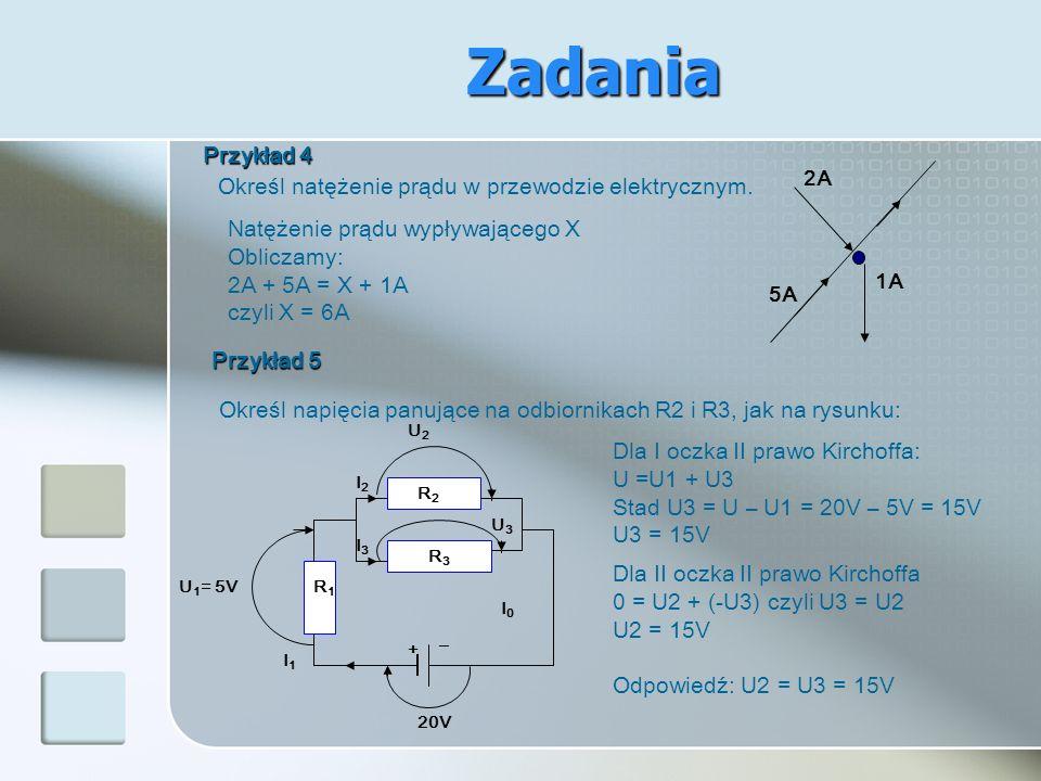 Określ natężenie prądu w przewodzie elektrycznym. Przykład 4 2A 5A 1A Natężenie prądu wypływającego X Obliczamy: 2A + 5A = X + 1A czyli X = 6A Określ