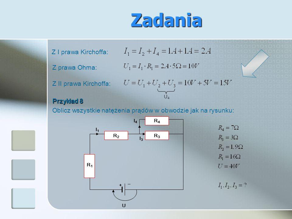 Z I prawa Kirchoffa: Z prawa Ohma: Z II prawa Kirchoffa: U4U4 Przykład 8 Oblicz wszystkie natężenia prądów w obwodzie jak na rysunku: + I4I4 R2R2 R1R1