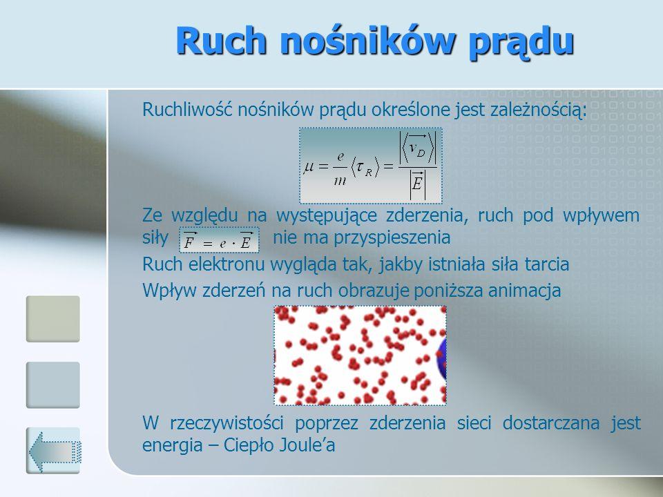 Ruchliwość nośników prądu określone jest zależnością: Ze względu na występujące zderzenia, ruch pod wpływem siły nie ma przyspieszenia Ruch elektronu