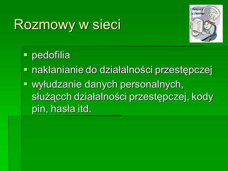 Rozmowy w sieci pedofilia pedofilia nakłanianie do działalności przestępczej nakłanianie do działalności przestępczej wyłudzanie danych personalnych,