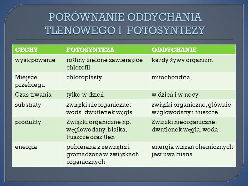 CECHYFOTOSYNTEZAODDYCHANIE wyst ę powaniero ś liny zielone zawieraj ą ce chlorofil ka ż dy ż ywy organizm Miejsce przebiegu chloroplastymitochondria,