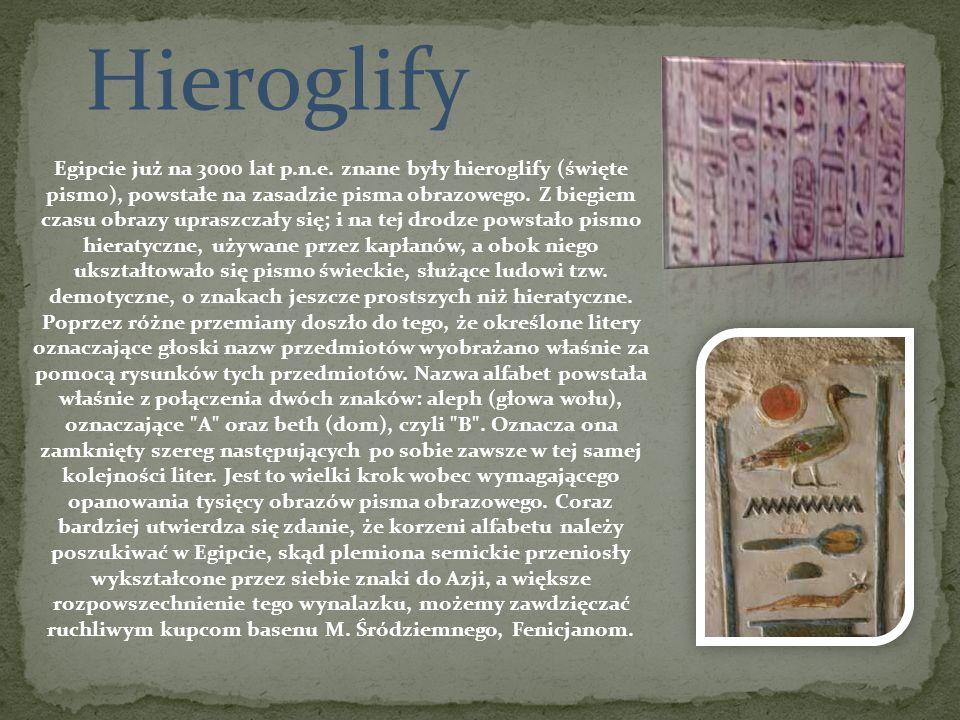 Hieroglify Egipcie już na 3000 lat p.n.e. znane były hieroglify (święte pismo), powstałe na zasadzie pisma obrazowego. Z biegiem czasu obrazy upraszcz