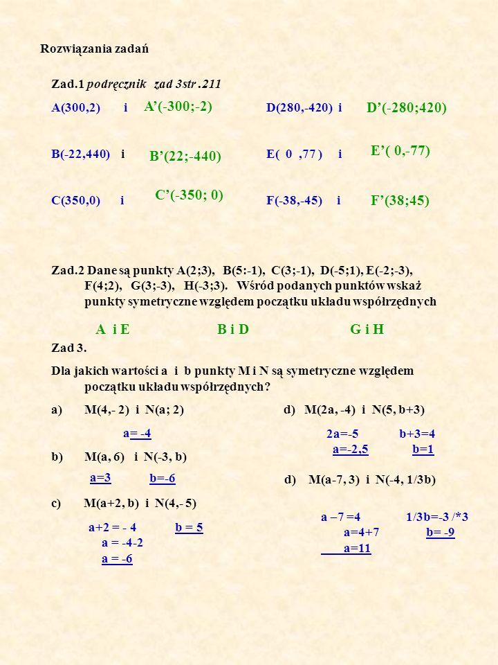 Rozwiązania zadań Zad.1 podręcznik zad 3str.211 A(300,2) i D(280,-420) i B(-22,440) i E( 0,77 ) i C(350,0) i F(-38,-45) i Zad.2 Dane są punkty A(2;3), B(5:-1), C(3;-1), D(-5;1), E(-2;-3), F(4;2), G(3;-3), H(-3;3).