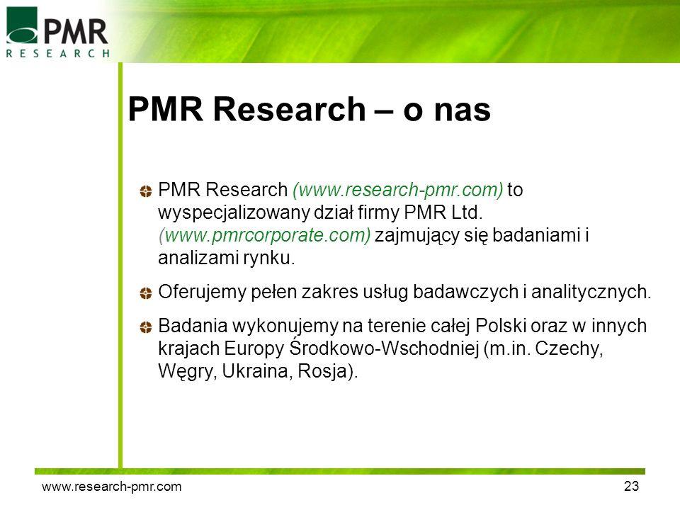www.research-pmr.com23 PMR Research – o nas PMR Research (www.research-pmr.com) to wyspecjalizowany dział firmy PMR Ltd. (www.pmrcorporate.com) zajmuj