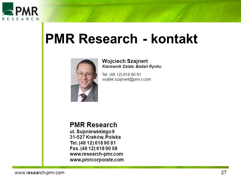 www.research-pmr.com27 PMR Research - kontakt PMR Research ul. Supniewskiego 9 31-527 Kraków, Polska Tel. (48 12) 618 90 81 Fax. (48 12) 618 90 08 www