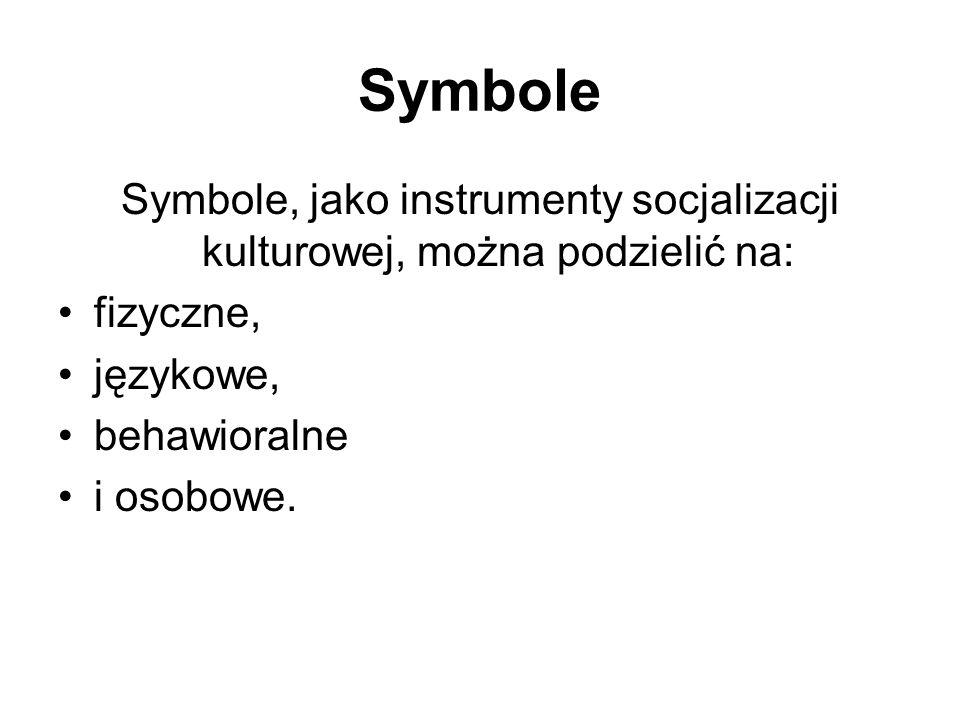Symbole Symbole, jako instrumenty socjalizacji kulturowej, można podzielić na: fizyczne, językowe, behawioralne i osobowe.