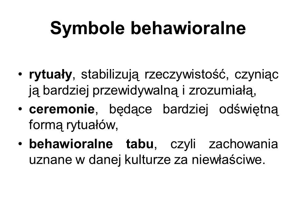 Symbole behawioralne rytuały, stabilizują rzeczywistość, czyniąc ją bardziej przewidywalną i zrozumiałą, ceremonie, będące bardziej odświętną formą ry