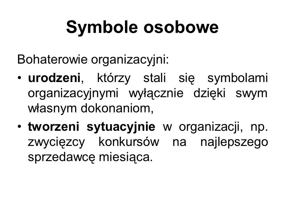 Symbole osobowe Bohaterowie organizacyjni: urodzeni, którzy stali się symbolami organizacyjnymi wyłącznie dzięki swym własnym dokonaniom, tworzeni syt