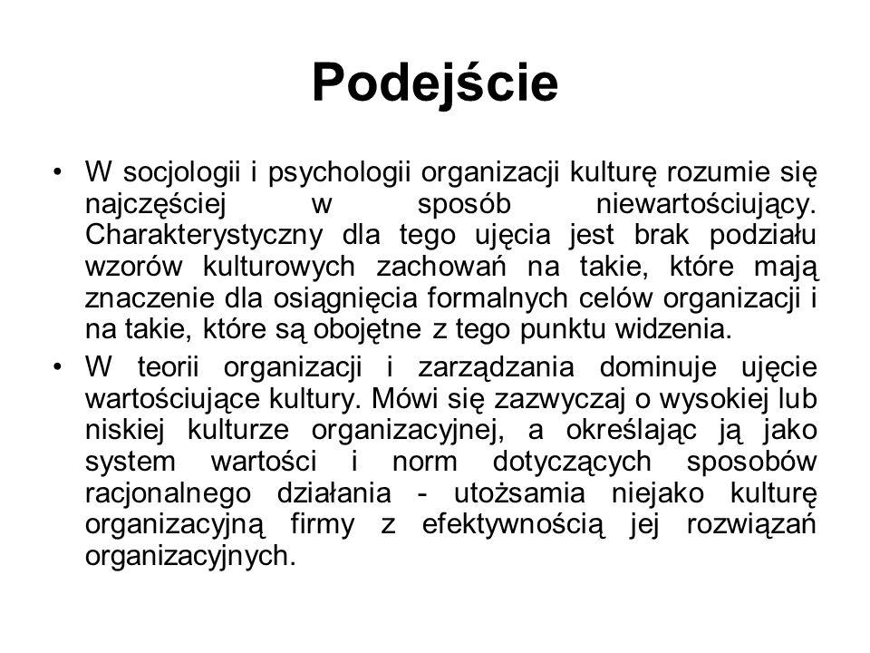 Podejście W socjologii i psychologii organizacji kulturę rozumie się najczęściej w sposób niewartościujący. Charakterystyczny dla tego ujęcia jest bra