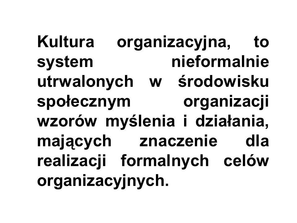 Kultura organizacyjna, to system nieformalnie utrwalonych w środowisku społecznym organizacji wzorów myślenia i działania, mających znaczenie dla real