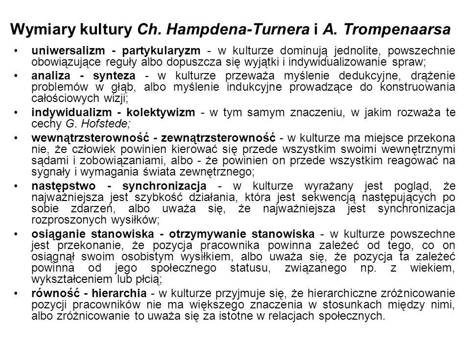 Wymiary kultury Ch. Hampdena-Turnera i A. Trompenaarsa uniwersalizm - partykularyzm - w kulturze dominują jednolite, powszechnie obowiązujące reguły a