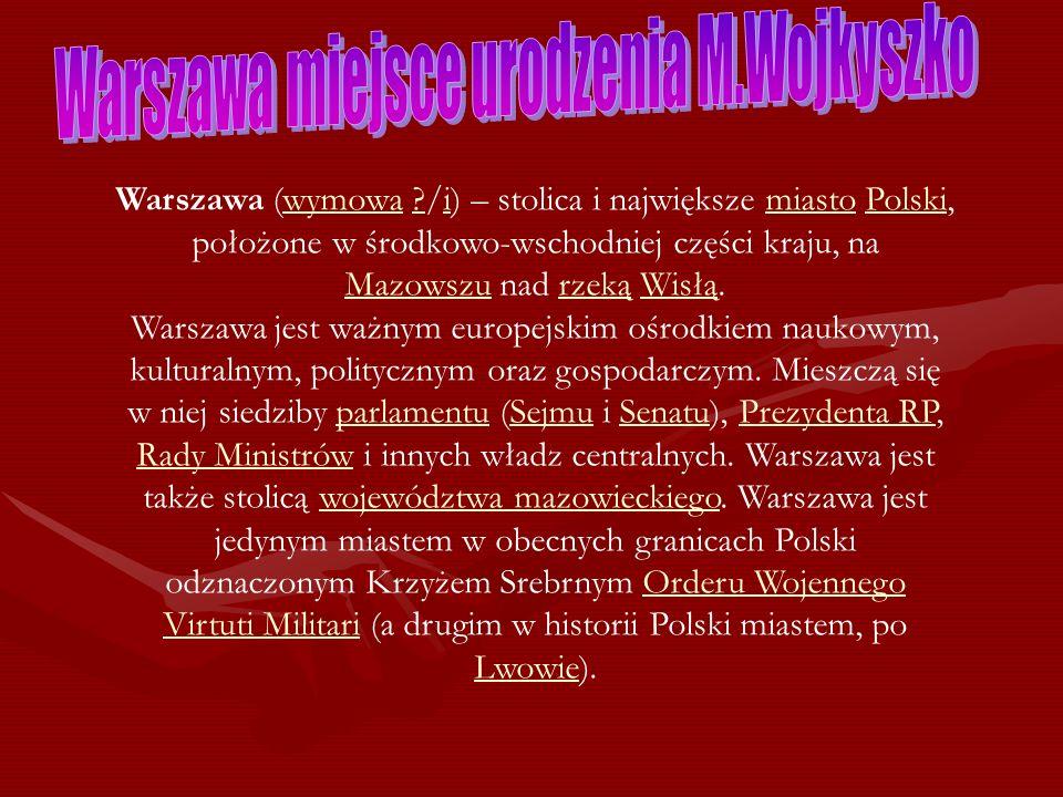 Warszawa (wymowa ?/i) – stolica i największe miasto Polski, położone w środkowo-wschodniej części kraju, na Mazowszu nad rzeką Wisłą.wymowa?imiastoPol