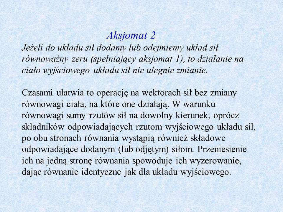 Aksjomat 2 Jeżeli do układu sił dodamy lub odejmiemy układ sił równoważny zeru (spełniający aksjomat 1), to działanie na ciało wyjściowego układu sił