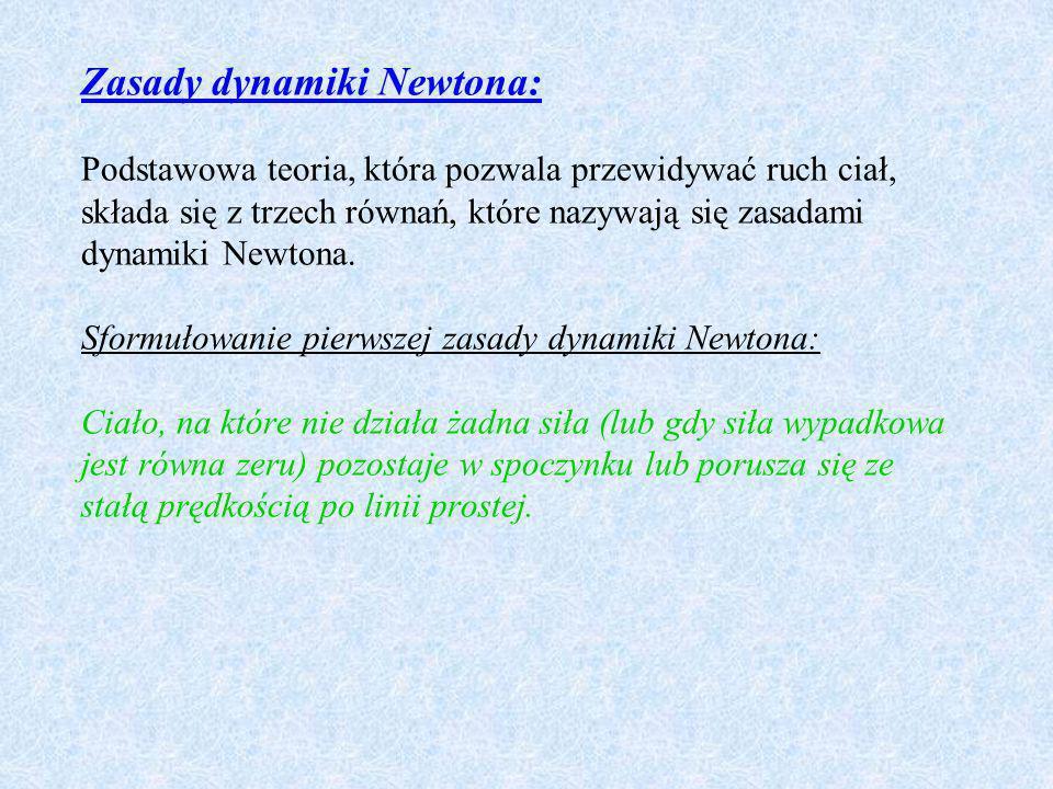 Zasady dynamiki Newtona: Podstawowa teoria, która pozwala przewidywać ruch ciał, składa się z trzech równań, które nazywają się zasadami dynamiki Newt