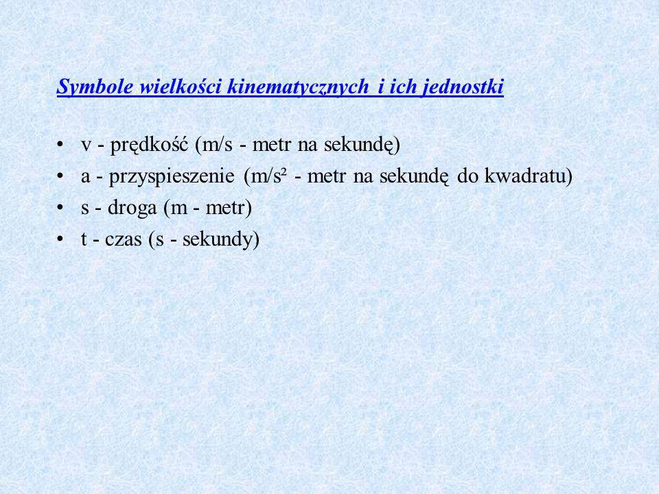 Symbole wielkości kinematycznych i ich jednostki v - prędkość (m/s - metr na sekundę) a - przyspieszenie (m/s² - metr na sekundę do kwadratu) s - drog