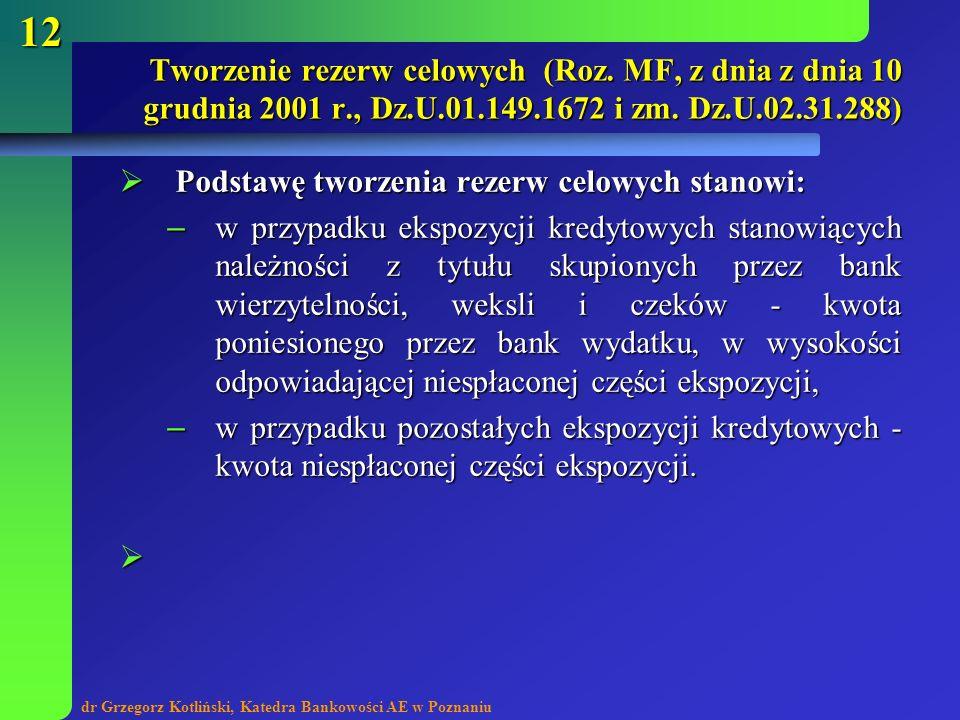 dr Grzegorz Kotliński, Katedra Bankowości AE w Poznaniu 12 Podstawę tworzenia rezerw celowych stanowi: Podstawę tworzenia rezerw celowych stanowi: – w