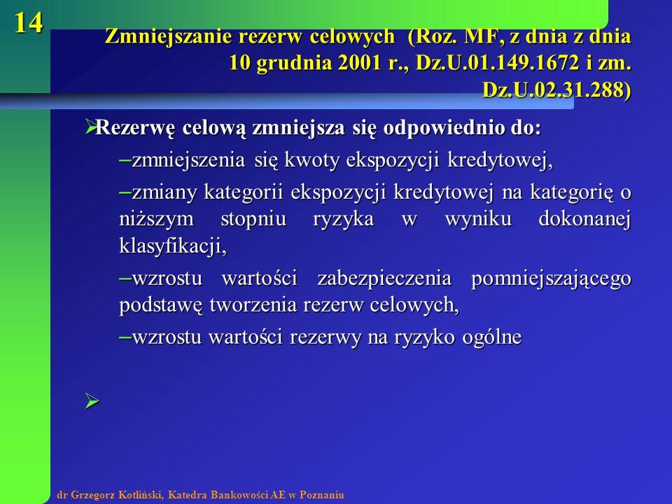 dr Grzegorz Kotliński, Katedra Bankowości AE w Poznaniu 14 Rezerwę celową zmniejsza się odpowiednio do: Rezerwę celową zmniejsza się odpowiednio do: –