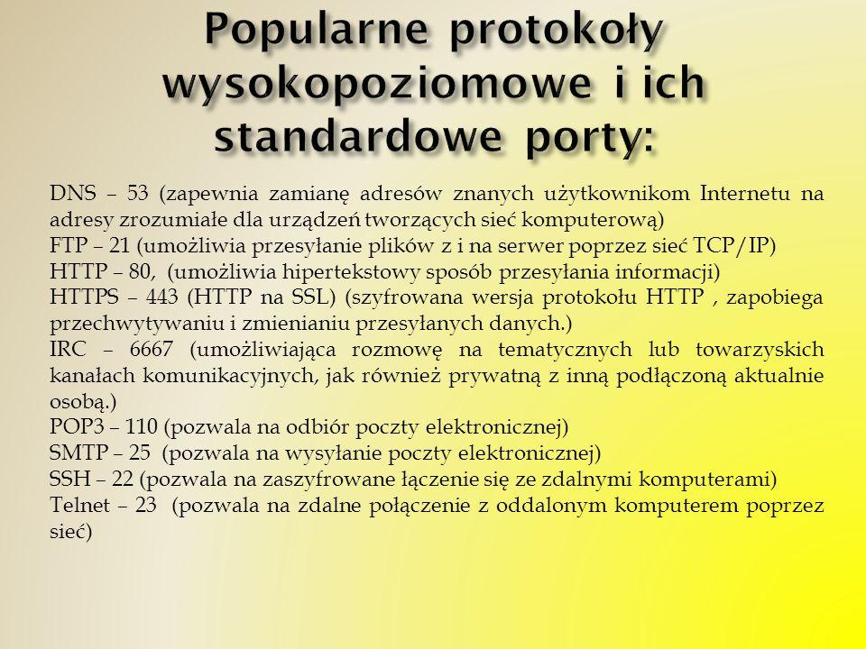 DNS – 53 (zapewnia zamianę adresów znanych użytkownikom Internetu na adresy zrozumiałe dla urządzeń tworzących sieć komputerową) FTP – 21 (umożliwia p