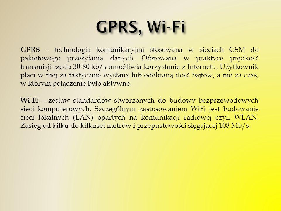 GPRS – technologia komunikacyjna stosowana w sieciach GSM do pakietowego przesyłania danych. Oferowana w praktyce prędkość transmisji rzędu 30-80 kb/s