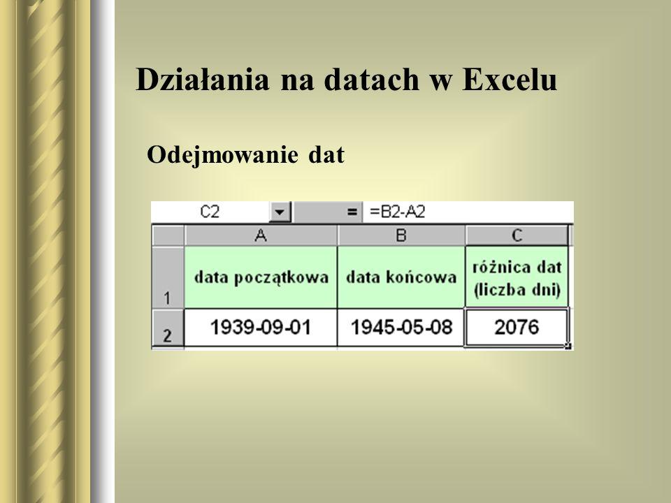 Działania na datach w Excelu Odejmowanie dat