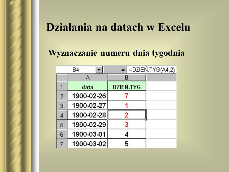 Działania na datach w Excelu Wyznaczanie numeru dnia tygodnia